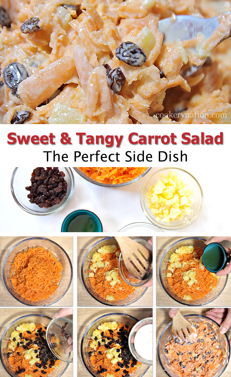 This sweet and tangy carrot salad is a perfect salad any time of year!