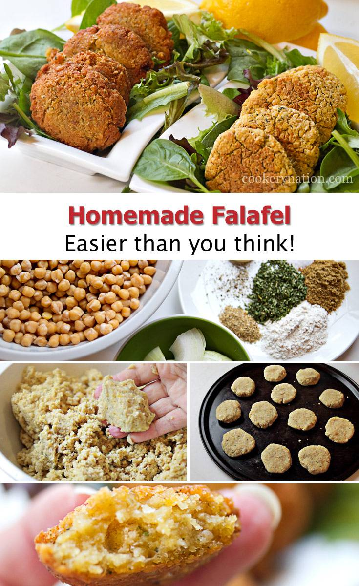 Falafels are awesome inside pitas or just as a side with sauce. They are easy to make and can be frozen for future quick meals or snacks.